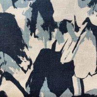 Viskose Leinen blau hellblau Muster