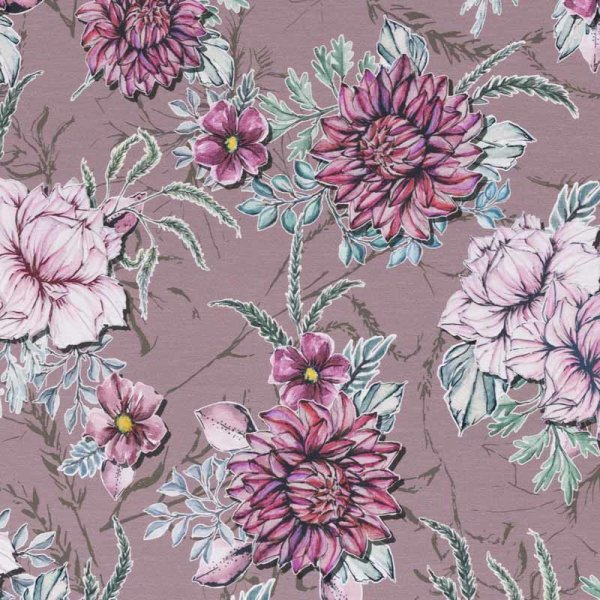 Jersey altrosa große Blume Watercolor