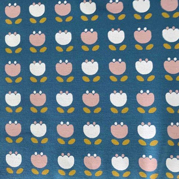 Jersey Bio jeansblau altrosa Blume