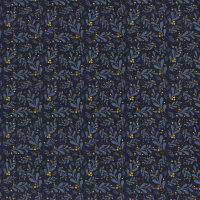 Jersey dunkelblau Blätter Beeren senf Lovely Garden by Lycklig Design