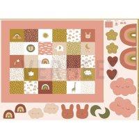 BW-Druck Panel Krabbeldecke rosé 100cm