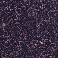 Softshell Fiete dunkelblau Blumen Kontur