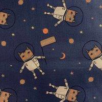 BW-Druck dunkelblau Astronautenkatze