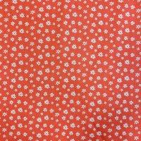 BW-Druck orange Blümchen weiß
