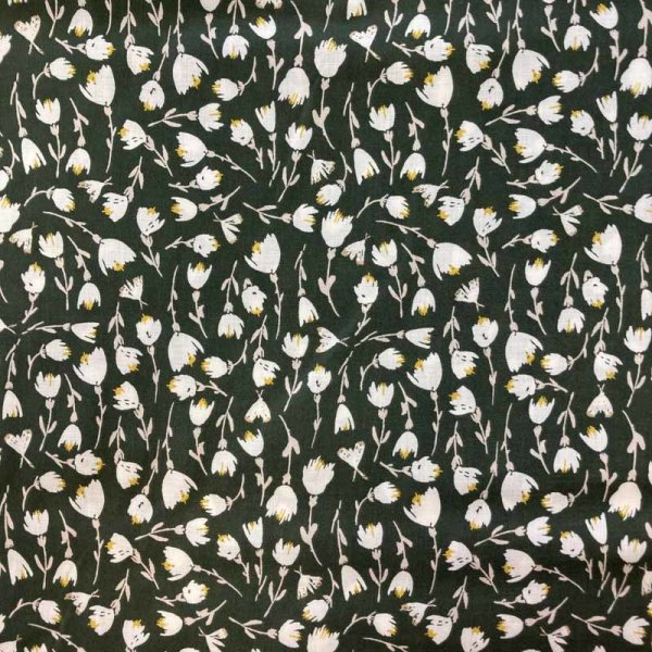 Viskose dunkelgrün Blumen